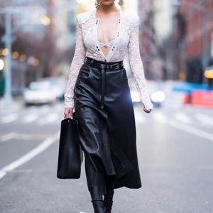 Midi black leather skirt